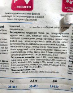Состав корма для кошек Фармина Вет Лайф