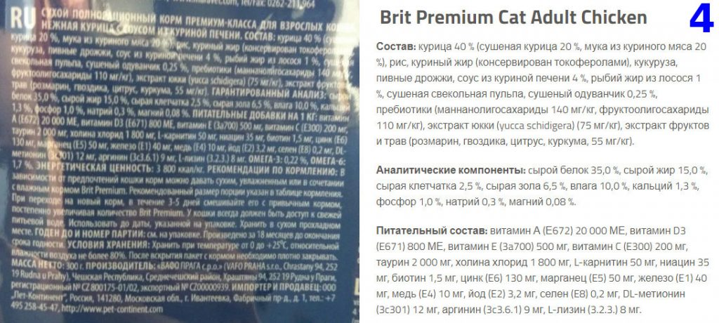 Состав корма премиум класса для кошек Brit Premium