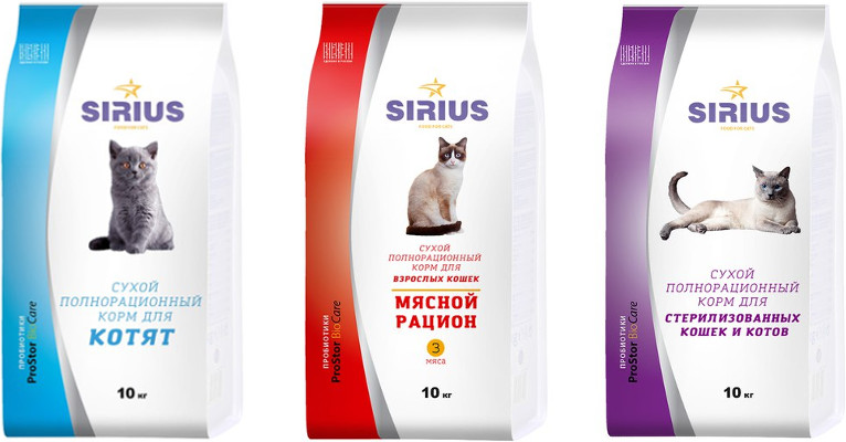 Корм для кошек Sirius - отзывы