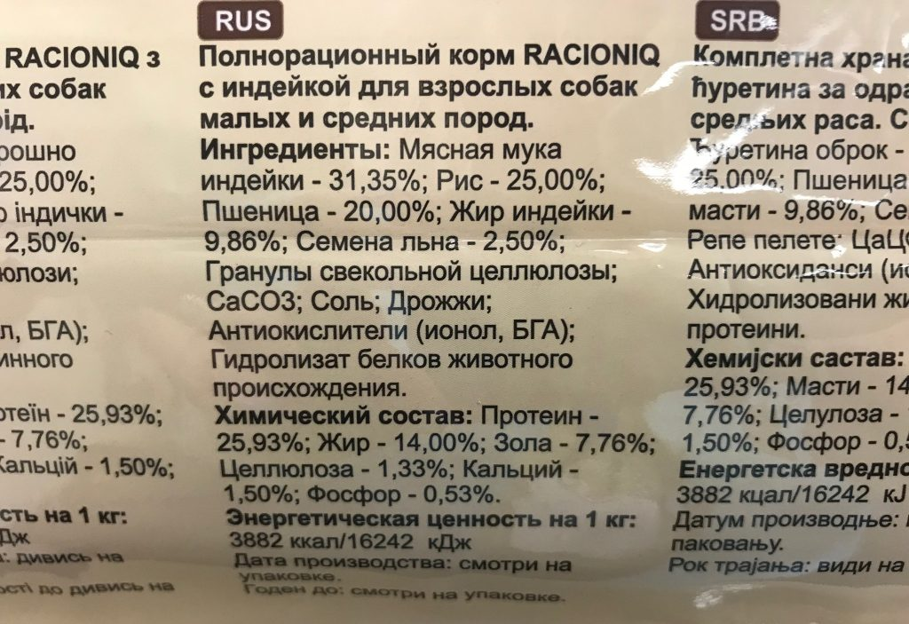 Состав корма для собак Racioniq