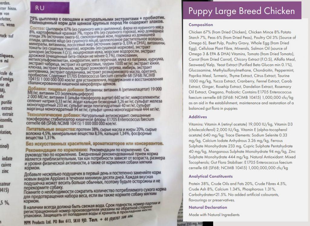 Состав корма для собак Applaws