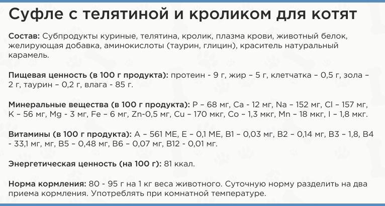 Состав корма Четвероногий гурман - Суфле